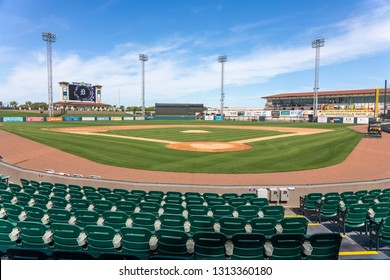 FEBRUARY 14, 2019, LAKELAND, FL: Beautiful Publix Field at Joker Marchant Stadium prepares for the 2019 Detroit Tigers and spring training. View from behind home plate.