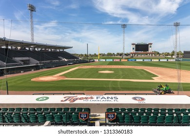 FEBRUARY 14, 2019, LAKELAND, FL: Beautiful Publix Field at Joker Marchant Stadium prepares for the 2019 Detroit Tigers and spring training. View from behind first base dugout.