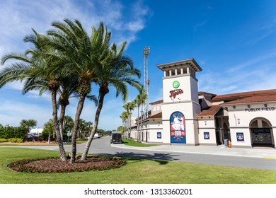 FEBRUARY 14, 2019, LAKELAND, FL: Beautiful Publix Field at Joker Marchant Stadium prepares for the 2019 Detroit Tigers and spring training. Outside the stadium's main entrance.