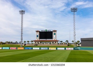FEBRUARY 14, 2019, LAKELAND, FL: Beautiful Publix Field at Joker Marchant Stadium prepares for the 2019 Detroit Tigers and spring training. This is the large scoreboard in left field.