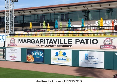 FEBRUARY 14, 2019, LAKELAND, FL: Beautiful Publix Field at Joker Marchant Stadium prepares for the 2019 Detroit Tigers and spring training. Margaritaville Patio is a popular spot to watch the games.