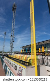 FEBRUARY 14, 2019, LAKELAND, FL: Beautiful Publix Field at Joker Marchant Stadium prepares for the 2019 Detroit Tigers and spring training. This is the right field foul pole and Margaritaville Patio.