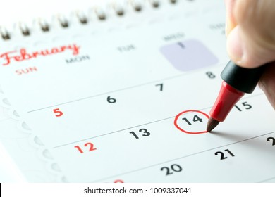 February 14 is circled with red color pen as reminder for Valentine's day