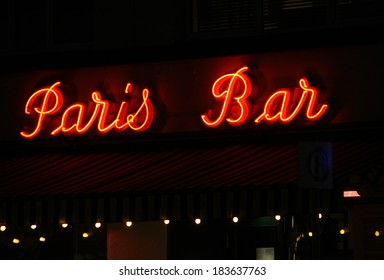 "FEBRUARY 15, 2014 - BERLIN: an electronic sign with the logo of the ""Paris Bar"", Kantstrasse, Berlin-Charlottenburg."