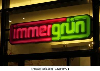 "FEBRUARY 15, 2014 - BERLIN: the logo of the brand ""immergruen"", Berlin."