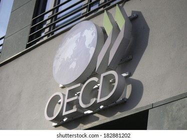 "FEBRUARY 15, 2014 - BERLIN: the logo of the ""OECD - Organization of Economic Cooperation and Development"", Berlin."