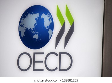 "FEBRUARY 15, 2014 - BERLIN: the logo of the ""OECD - Oranization of Economic Cooperation and Development"", Berlin."