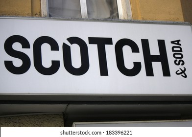 "FEBRUARY 15, 2014 - BERLIN: the logo of the brand ""Scotch and Soda"", Berlin."