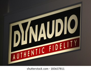 "FEBRUARY 15, 2014 - BERLIN: the logo of the brand ""Dynaudio"", Berlin."