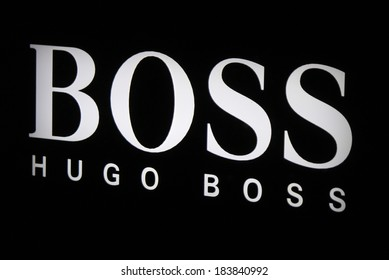 "FEBRUARY 15, 2014 - BERLIN: the logo of the brand ""Hugo Boss"", Berlin."