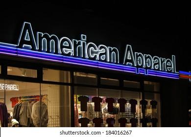 "FEBRUARY 15, 2014 - BERLIN: the logo of the brand ""American Apparel"", Berlin."