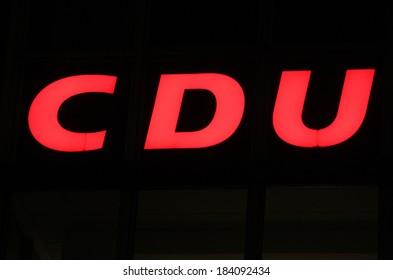 "FEBRUARY 15, 2014 - BERLIN: the logo of the German Christian Democratic party ""CDU"", Berlin."