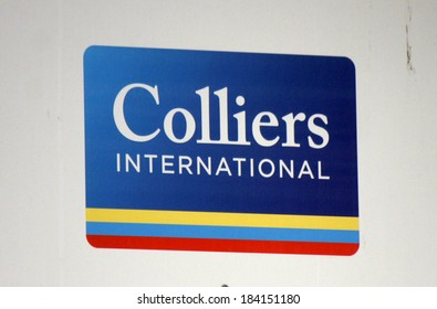 "FEBRUARY 15, 2014 - BERLIN: the logo of the brand ""Colliers International"", Berlin."