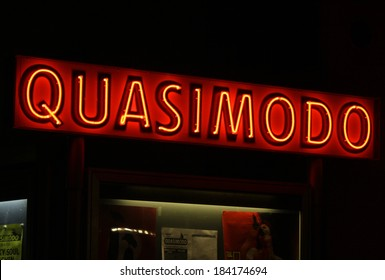 "FEBRUARY 15, 2014 - BERLIN: the logo of the jazzclub ""Quasimodo"", Kantstrasse, Berlin-Charlottenburg."