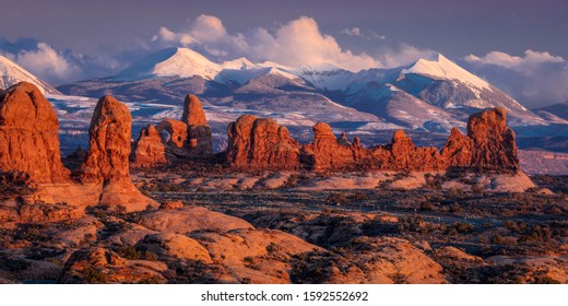 FEBRUARY 15, 2019 -  ARCHES NATIONAL PARK, UTAH , USA - Arches National Park, Utah at sunset - Lasalle Mountains in distance