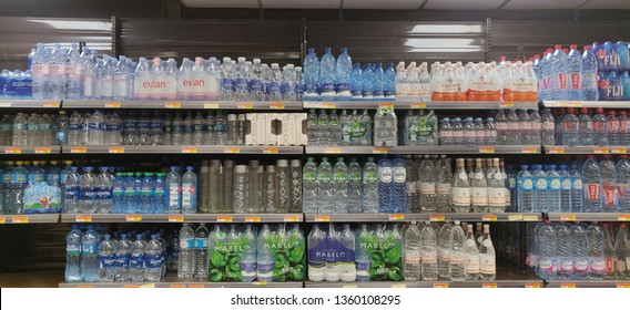 February 15 2019. Carrefour Market. Cayhill. St.Maarten. A supermarket aise with bottled water. sections of water missing as yachts and  persons prepare for the heineken regatta.
