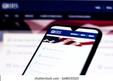 February 15, 2020, Brazil. In this photo illustration the Internal Revenue Service (IRS) website seen displayed on a smartphone. Selective focus.