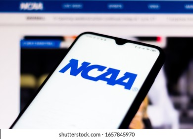 February 15, 2020, Brazil. In this photo illustration the National Collegiate Athletic Association (NCAA) website seen displayed on a smartphone.