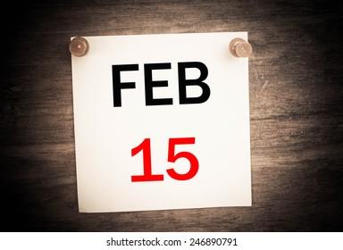 February 15 calendar on note paper