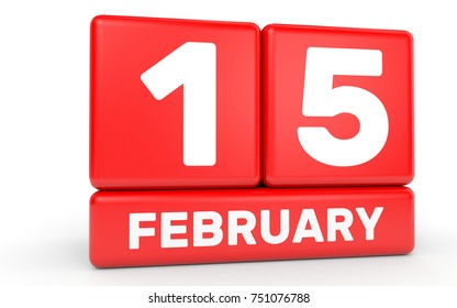February 15. Calendar on white background. 3D illustration.
