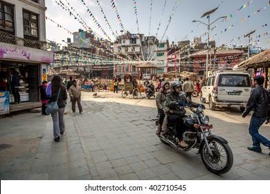 February, 15th 2016 - Katmandu City, Nepal - Group of people in a Saturday morning in the Durbar square in downtown Katmandu, Nepal.