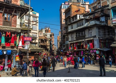 February, 15th 2016 - Katmandu, Nepal - Big group of people in a Saturday morning in the Durbar square in downtown Katmandu, Nepal.