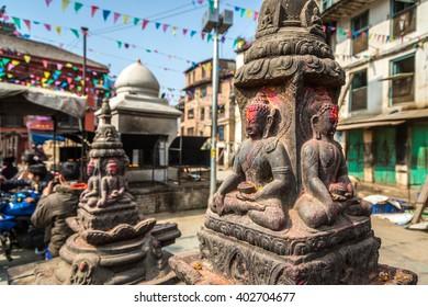 February, 15th 2016 - Katmandu, Nepal - Buddhist statue in Durbar square in downtown Katmandu, Nepal.
