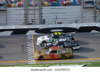 February 16, 2019 - Daytona Beach, Florida, USA: Tyler Reddick (2) battles for position at the NASCAR Racing Experience 300 at Daytona International Speedway in Daytona Beach, Florida.