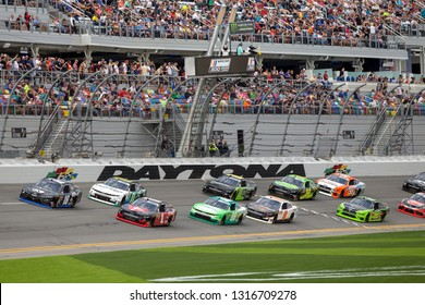 February 16, 2019 - Daytona Beach, Florida, USA: Jeffrey Earnhardt (18) battles for position at the NASCAR Racing Experience 300 at Daytona International Speedway in Daytona Beach, Florida.