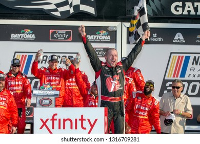 February 16, 2019 - Daytona Beach, Florida, USA: Michael Annett (1) wins the NASCAR Racing Experience 300 at Daytona International Speedway in Daytona Beach, Florida.