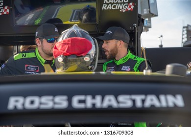 February 16, 2019 - Daytona Beach, Florida, USA: Ross Chastain (10) takes to the track to qualify for the NASCAR Racing Experience 300 at Daytona International Speedway in Daytona Beach, Florida.