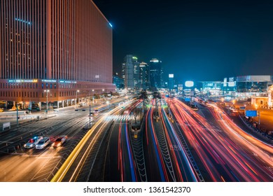 February 16, 2019. Night scenery of Seoul city. View from Seoullo 7017, near Seoul Station in South Korea.