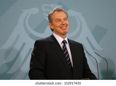 FEBRUARY 17, 2006 - BERLIN: Tony Blair at a press conference after a meeting with the German Chancellor in the Chanclery in Berlin.