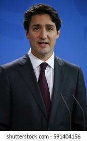 FEBRUARY 17, 2017 - BERLIN: Canadian Prime Minister Justin Trudeau at a press conference after a meeting with the German Chancellor in the Federal Chanclery in Berlin.