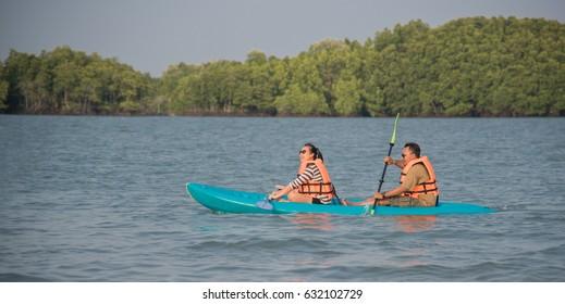 February 17, 2017: Tourists are kayaking at Chanthaburi, Thailand