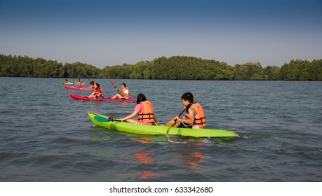 February 17, 2017, tourists are kayaking in the water at Chanthaburi, Thailand.