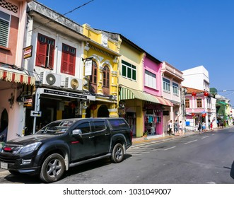 February 17, 2018, Phuket town, Thailand: Phuket old town with old buildings in is a very tourist of Phuket.