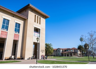 February 17, 2018 Santa Clara / CA / USA - People visiting Santa Clara University campus on a sunny day, south San Francisco bay area