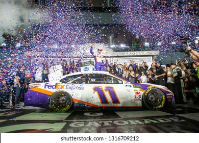 February 17, 2019 - Daytona Beach, Florida, USA: Denny Hamlin (11) wins the Daytona 500 at Daytona International Speedway in Daytona Beach, Florida.
