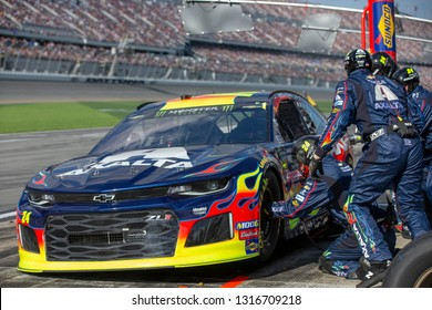 February 17, 2019 - Daytona Beach, Florida, USA: William Byron (24) races through a pit stop at the Daytona 500 at Daytona International Speedway in Daytona Beach, Florida.