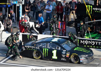 February 17, 2019 - Daytona Beach, Florida, USA: Kurt Busch (1) makes a pit stop for the Daytona 500 at Daytona International Speedway in Daytona Beach, Florida.