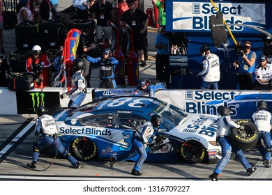 February 17, 2019 - Daytona Beach, Florida, USA: David Ragan (38) makes a pit stop for the Daytona 500 at Daytona International Speedway in Daytona Beach, Florida.