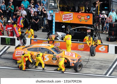 February 17, 2019 - Daytona Beach, Florida, USA: Ryan Newman (6) makes a pit stop for the Daytona 500 at Daytona International Speedway in Daytona Beach, Florida.