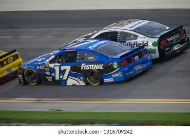 February 17, 2019 - Daytona Beach, Florida, USA: Ricky Stenhouse, Jr (17) battles for position at the Daytona 500 at Daytona International Speedway in Daytona Beach, Florida.