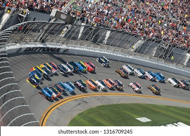 February 17, 2019 - Daytona Beach, Florida, USA: The Monster Energy NASCAR Cup Series teams take to the track for the Daytona 500 at Daytona International Speedway in Daytona Beach, Florida.
