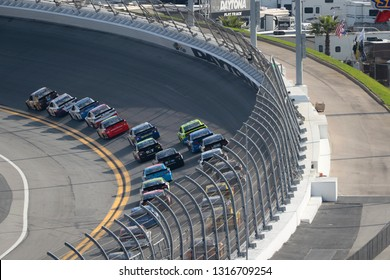 February 17, 2019 - Daytona Beach, Florida, USA: Kyle Busch (18) races down the front stretch during the Daytona 500 at Daytona International Speedway in Daytona Beach, Florida.