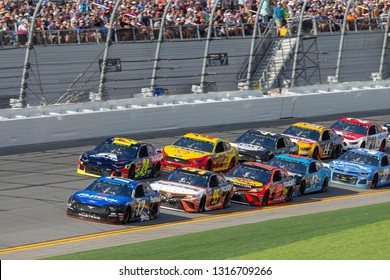 February 17, 2019 - Daytona Beach, Florida, USA: {persons} races through the pits at the NASCAR Racing Experience 300 at Daytona International Speedway in Daytona Beach, Florida.