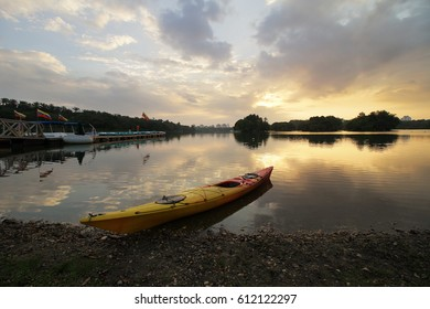 February 17th, 2017- Glorious sunset at Wetland Lake, Putrajaya with canoe as main subject. Nature composition, and vibrant colours.