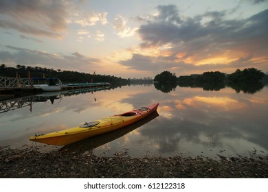 February 17th, 2017- Glorious sunset at Wetland Lake, Putrajaya with canoe as main subject. Nature composition and vibrant colours.