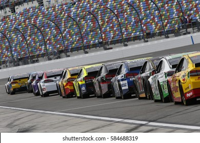 February 18, 2017 - Daytona Beach, Florida, USA: The Monster Energy NASCAR Cup Series teams takes to the track to practice for the Daytona 500 in Daytona Beach, Florida.